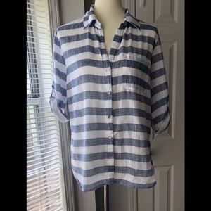 New York And Company Striped    Blouse Size Large